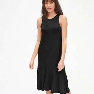 GAP black tank midi dress with ruffle high-low hem